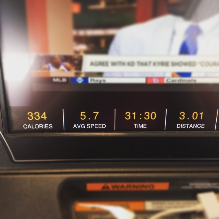 Treadmill monitor displaying calories, average speed, time and distance