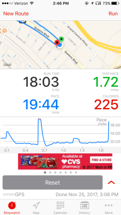 Day 1 (I use the Runmeter app to track everything and measure progress)