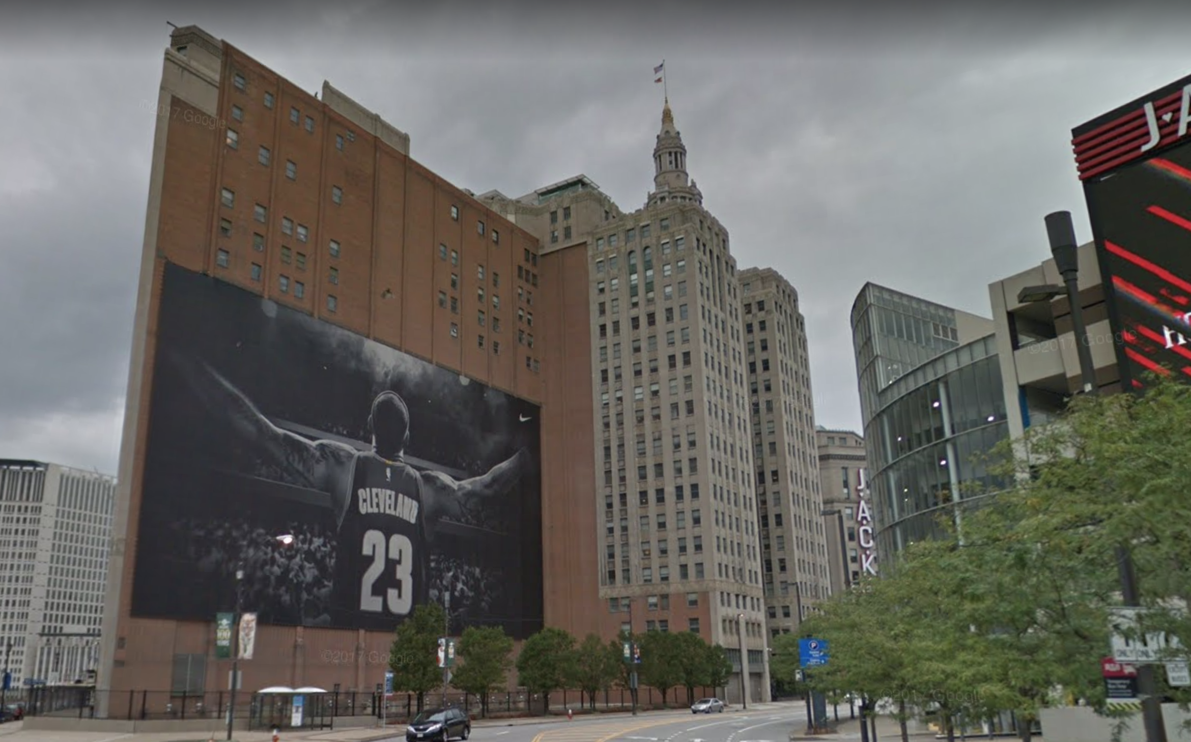 LeBron James black-and-white mural in Cleveland