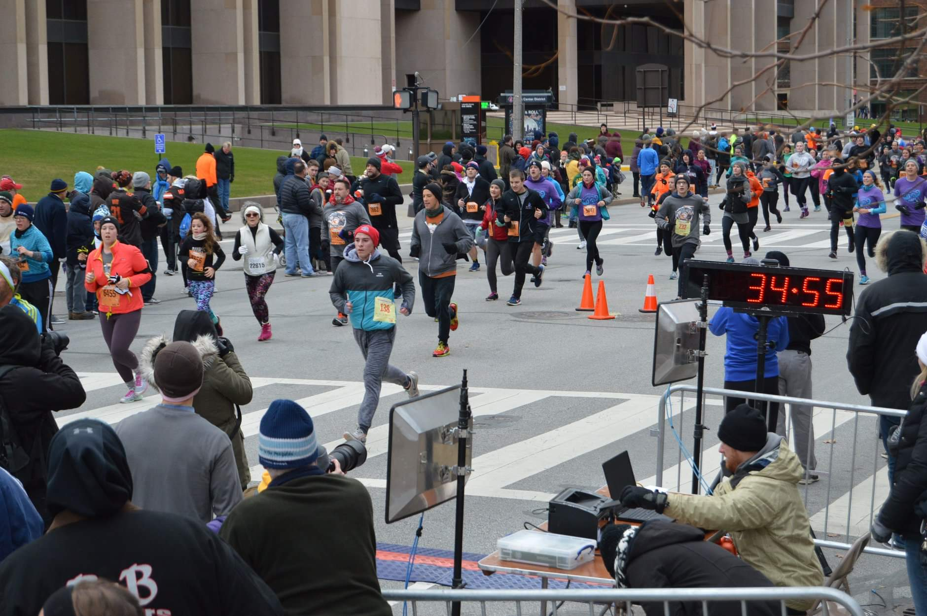 Crossing the finish line at the Turkey Trot