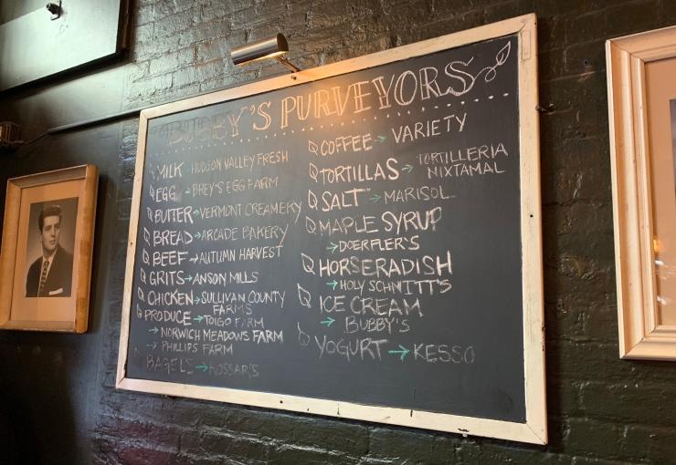 Chalkboard of Bubby's Purveyors