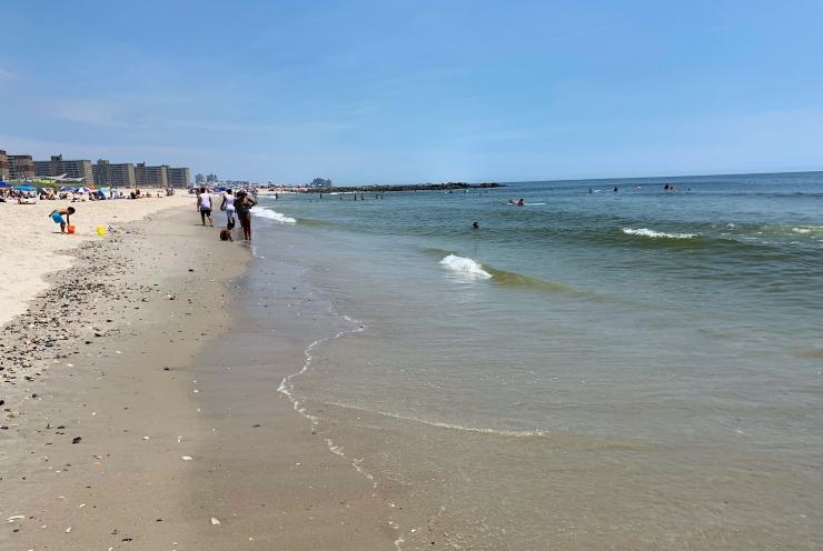 Rockaway Beach shoreline at water's edge