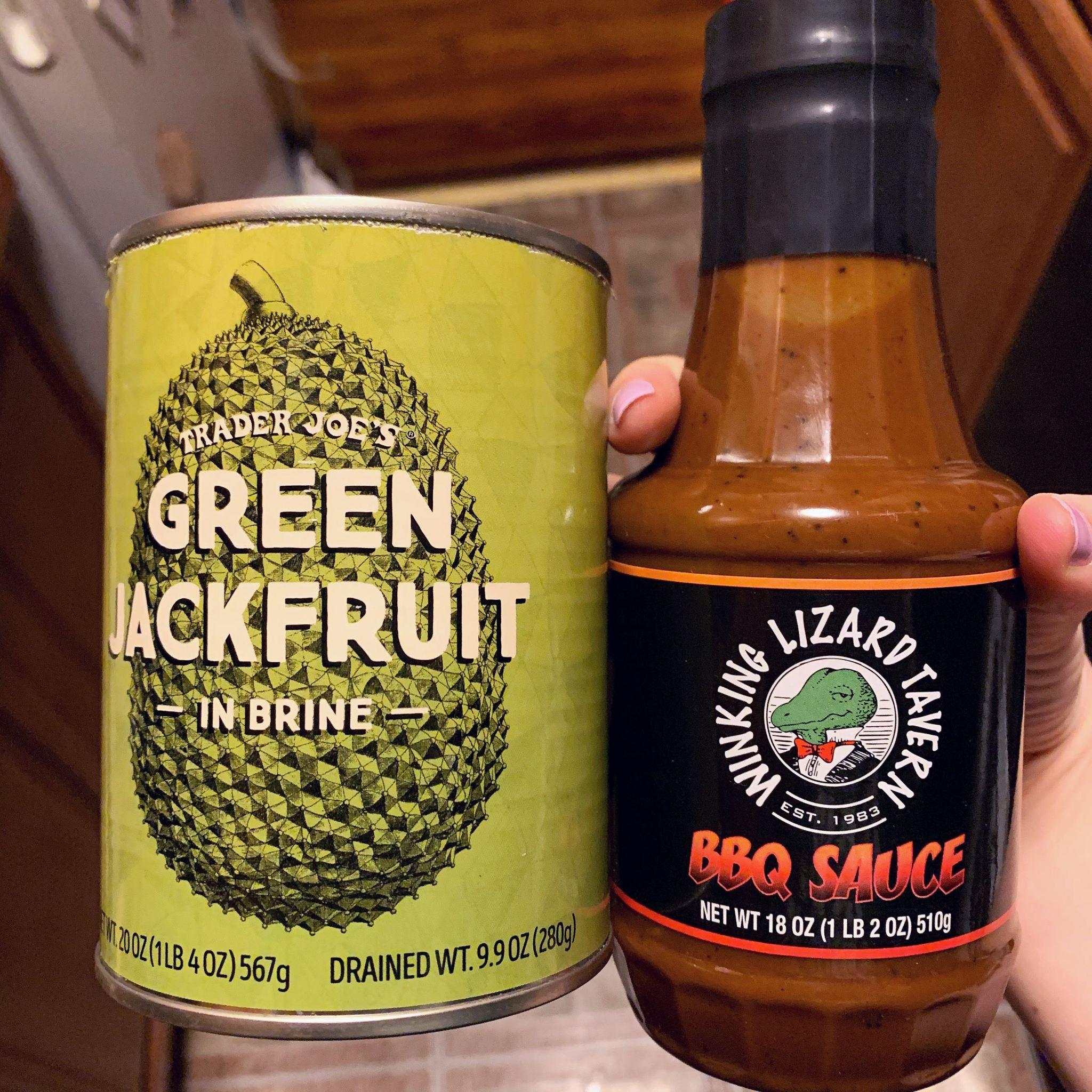 Canned Green Jackfruit and Winking Lizard Tavern BBQ Sauce bottle