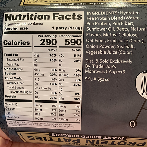 Trader Joe's Protein Patties Nutrition Facts and Ingredients
